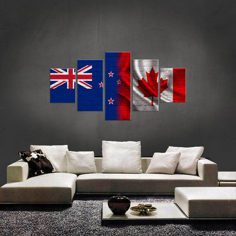 HD PRINTED LIMITED EDITION 5 PIECE KIWI (NEW ZEALAND) CANADIAN CANVAS