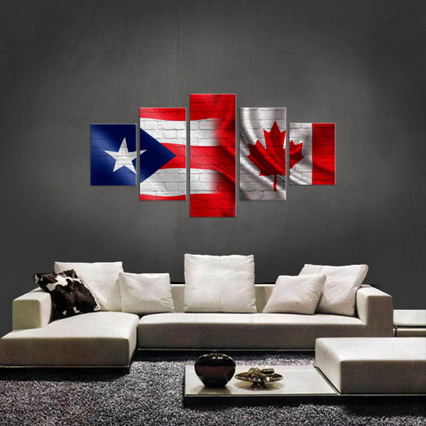 HD PRINTED LIMITED EDITION 5 PIECE PUERTO RICAN CANADIAN CANVAS