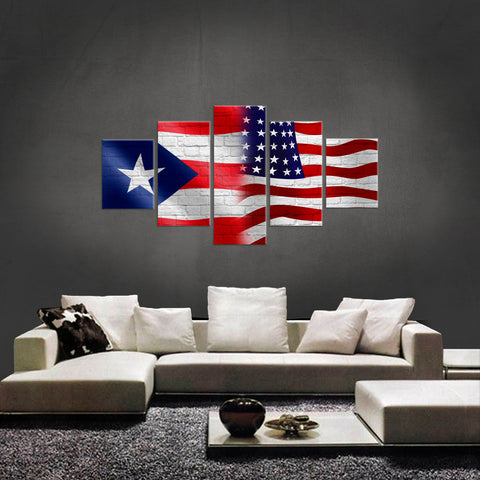 PRINTED LIMITED EDITION 5 PIECE PUERTO RICAN AMERICAN CANVAS
