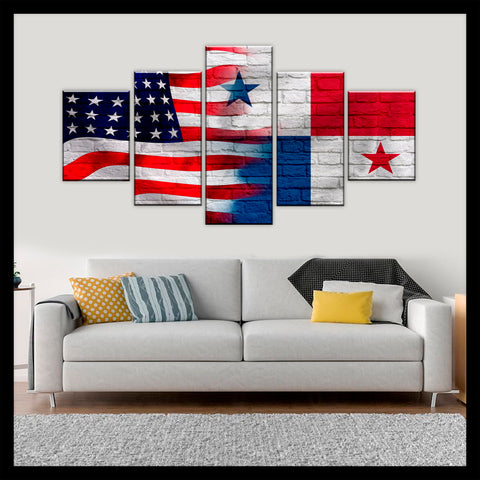 HD PRINTED LIMITED EDITION AMERICAN - PANAMANIAN (PANAMA) FLAG CANVAS