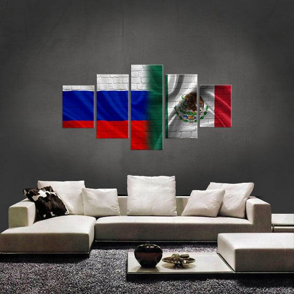 HD PRINTED LIMITED EDITION 5 PIECE RUSSIA MEXICO CANVAS
