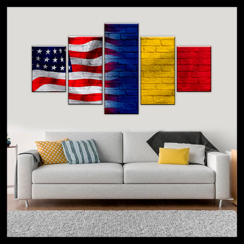HD PRINTED LIMITED EDITION AMERICAN - ROMANIANS (ROMENIA) FLAG CANVAS