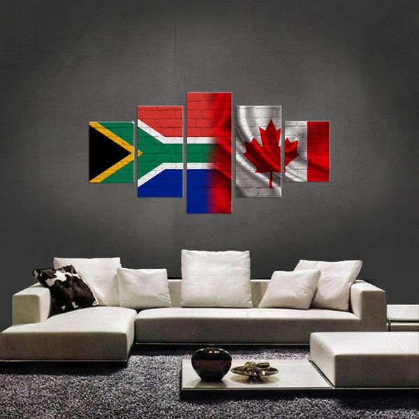 HD PRINTED LIMITED EDITION 5 PIECE SOUTH AFRICAN CANADIAN CANVAS