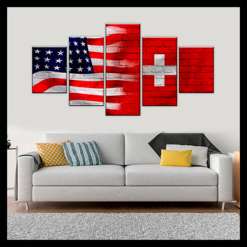 HD PRINTED LIMITED EDITION AMERICAN - SWISS (SWITZERLAND) FLAG CANVAS