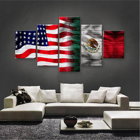 HD PRINTED LIMITED EDITION 5 PIECE  AMERICA MEXICO CANVAS