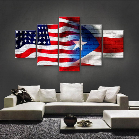 PRINTED LIMITED EDITION 5 PIECE AMERICAN-PUERTO RICAN CANVAS