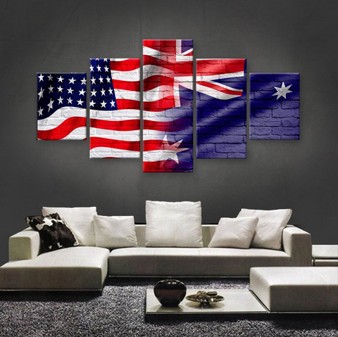 HD PRINTED LIMITED EDITION 5 PIECE AMERICAN-AUSTRALIAN (AUSTRALIA) CANVAS