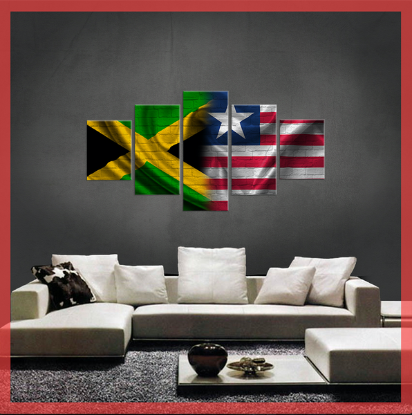 HD PRINTED LIMITED EDITION JAMAICAN LIBERIAN FLAG CANVAS
