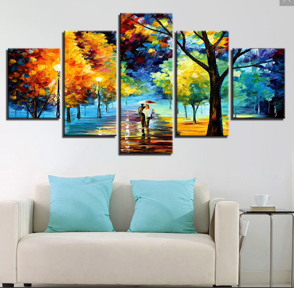 5 PIECE Alley by the Lake by Leonid Afremov CUSTOM MADE LIMITED EDITION CANVAS