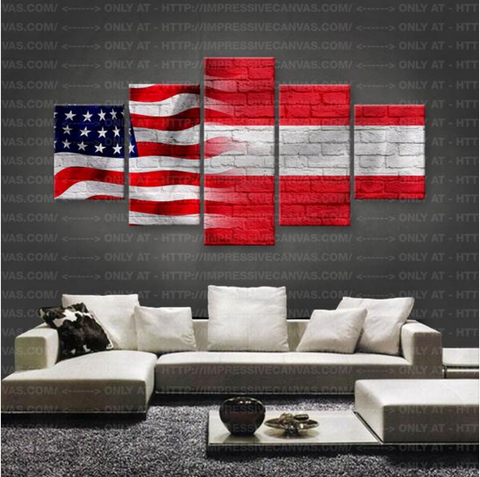 HD PRINTED LIMITED EDITION NEW AMERICAN - AUSTRIAN (AUSTRIA) FLAG CANVAS