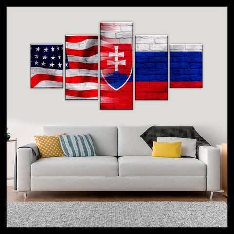 HD PRINTED LIMITED EDITION AMERICAN - SLOVAKIAN (SLOVAKIA) FLAG CANVAS