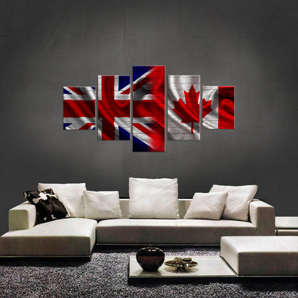 HD PRINTED LIMITED EDITION 5 PIECE BRITISH CANADIAN  CANVAS