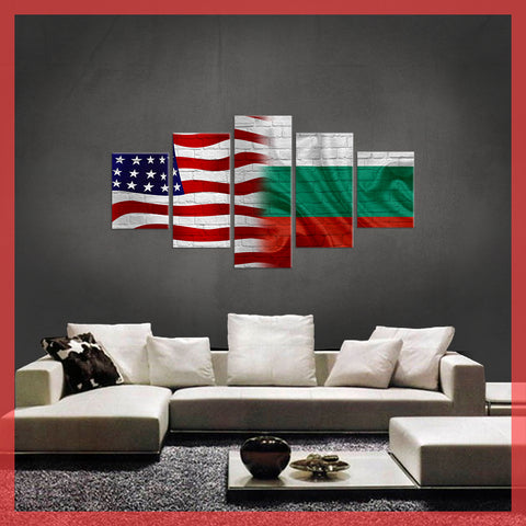 HD PRINTED LIMITED EDITION USA BULGARIA FLAG CANVAS