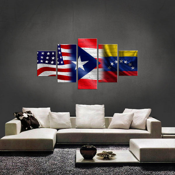 HD PRINTED LIMITED EDITION 5 PIECE AMERICAN, PUERTO RICAN, VENEZUELAN CANVAS