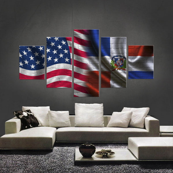 HD PRINTED LIMITED EDITION 5 PIECE AMERICAN-DOMINICAN REPUBLIC CANVAS - NEW DESIGN