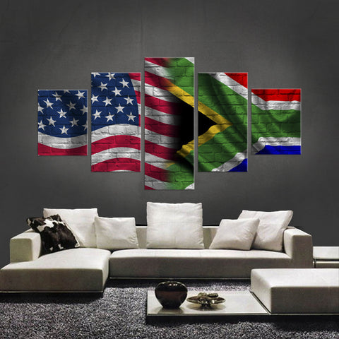 HD PRINTED LIMITED EDITION 5 PIECE AMERICAN - SOUTH AFRICAN (SOUTH AFRICA) CANVAS - NEW DESIGN
