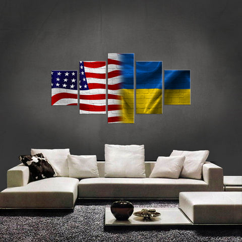 HD PRINTED  NEW AMERICAN UKRAINE LIMITED EDITION 5 PIECE CANVAS