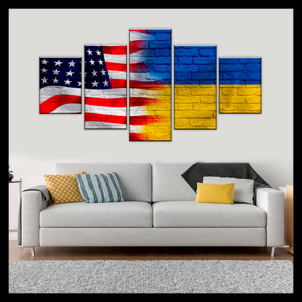 HD PRINTED LIMITED EDITION AMERICAN - UKRAINIAN  (UKRAIN) FLAG CANVAS