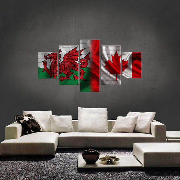 HD PRINTED LIMITED EDITION 5 PIECE WELSH CANADIAN (WALES) CANVAS
