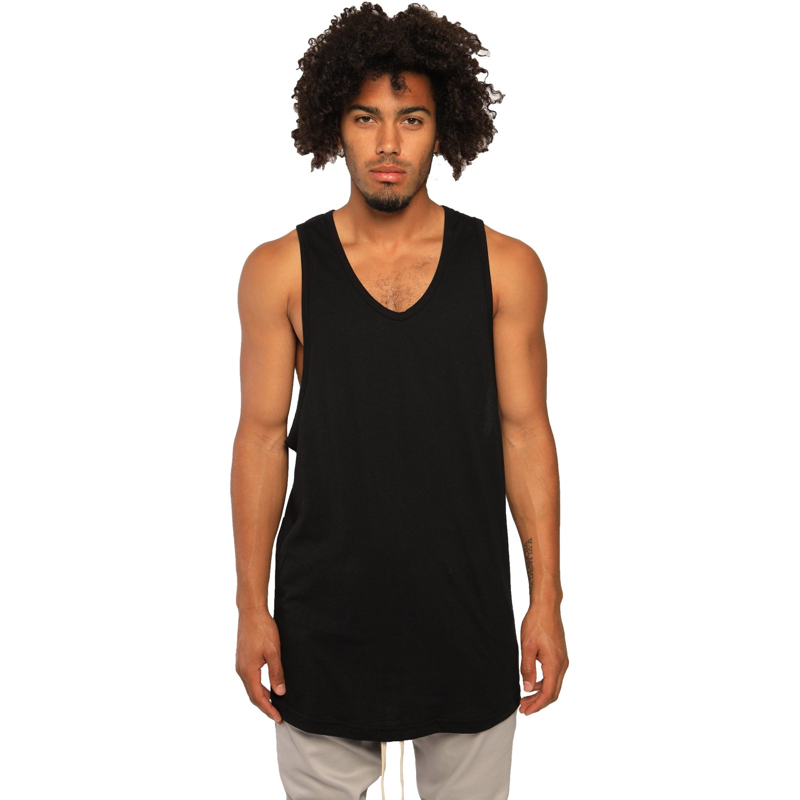 "AA/S-18 Elongated Tank Tops-Black - AILIP ""Anything In Life Is Possible"""