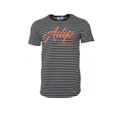 Ailip Apparel's Striped Printed Scoop Shirt Black - (Previous Collection) - AILIP