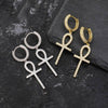 Lab Diamond Ankh Cross Pendant Earrings