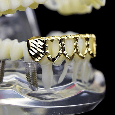 (Pre-Made) 18k Plated Diamond Cut Open Face Grillz