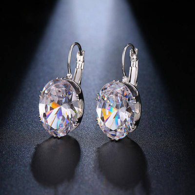 Oval Shape Crystal/CZ Earrings