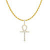 Gold / 18in 🔥Flash Sale 🔥 14K GOLD PLATED LAB DIAMOND ANKH NECKLACE - Industry Pieces