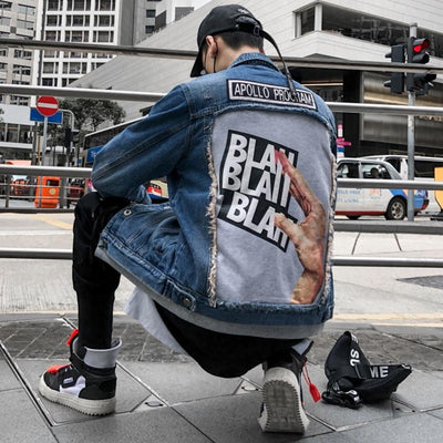 Men 3d Patch Design Denim Jean Streetwear