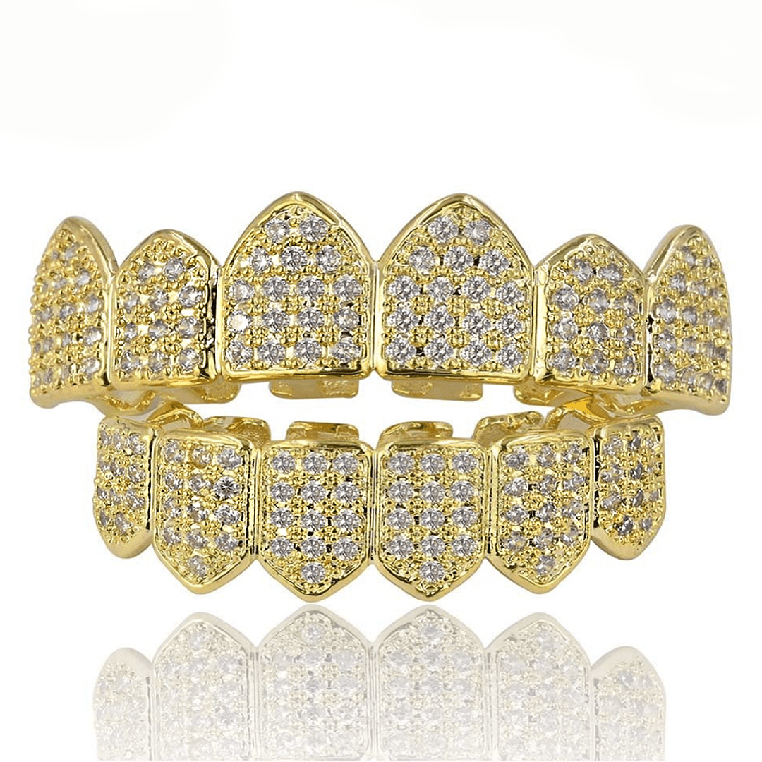 Gold Bottom (Pre-Made) 18K Gold Plated HQ CZ Grillz | Top/Bottom/Set - Industry Pieces