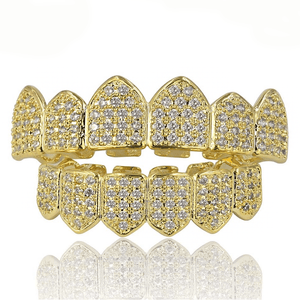 🎁(Pre-Made) 18K Gold Plated HQ CZ Grillz | Top/Bottom/Set