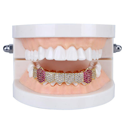 (Pre-Made) 18K Gold or Silver Plated HQ CZ Grillz | w/Colored CZ Canines