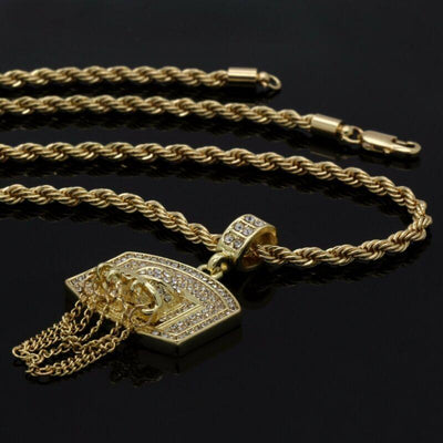 "🔥 Clearance🔥 Gold Plated Basketball Hoop CZ Pendant + 24"" Inch Rope Necklace"