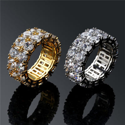 2 Row CZ Solitaire Ring For Men/Women Gold/Silver - Industry Pieces