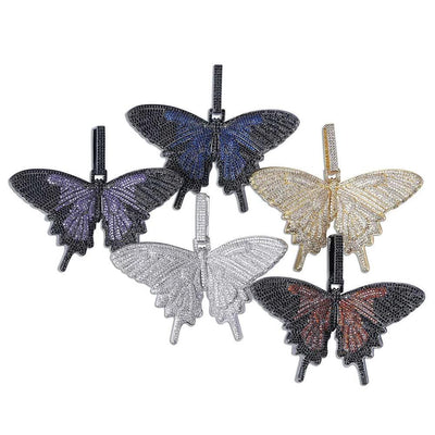 Lab Diamond Multicolor Butterfly Pendants & Necklaces