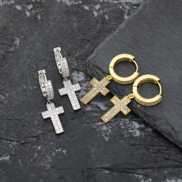 Lab Diamond Micro Pave Cross Earrings / Pendant