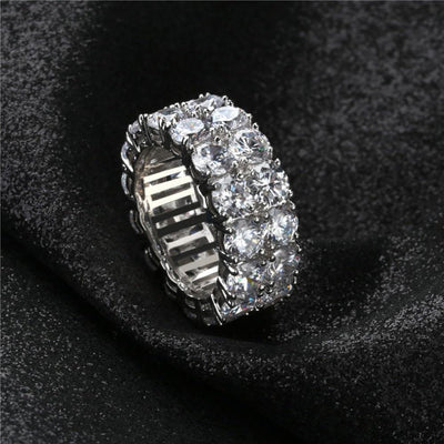 2 Row CZ Solitaire Ring For Men/Women Gold/Silver