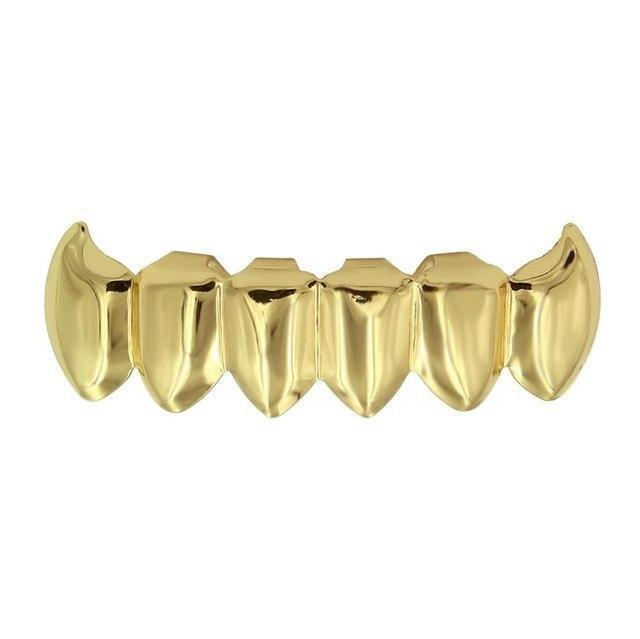 (Pre-Made) 14k Gold Plated Fang Grillz | Bottom