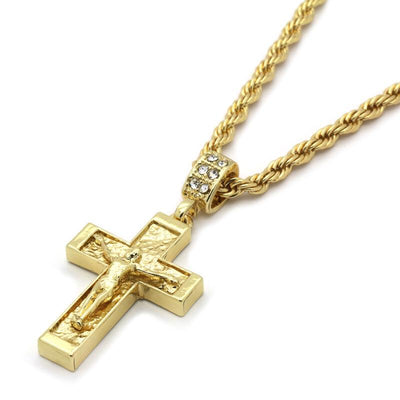 "🔥 Clearance🔥 14k Gold Plated Jesus Cross Pendant + 24"" 4mm Rope Chain"