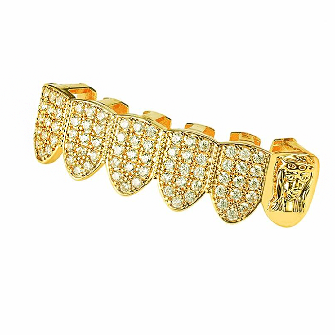 (Pre-Made) New Arrival - 18K Gold Plated/Silver Lab Diamond Jesus Bottom Grillz