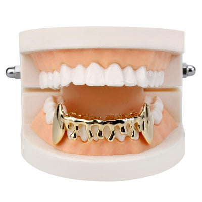 (Pre-Made) HQ Fang Drip Grillz | 18K Gold/Silver Plated | Top/Bottom/Set - Industry Pieces
