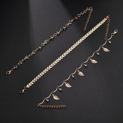 3PC/SET Leaf Anklets - Industry Pieces