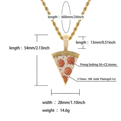 Pizza Lab Diamond Pendant + Necklace