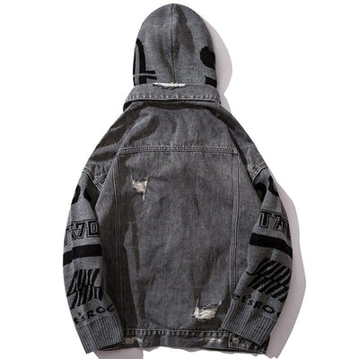 Patchwork Knit Hooded Jean Jacket