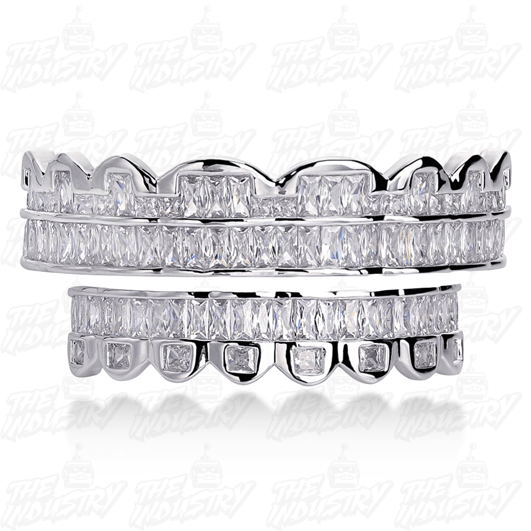 Silver Set 🔥 (Pre-Made) HQ Micro Pave Lab Diamond Grillz - Industry Pieces