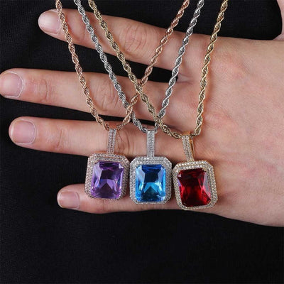 Multicolor Gem Pendant Necklaces w/Infinity Stones