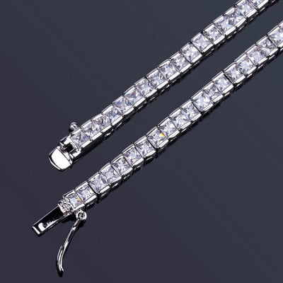 4MM Square Cut Tennis Necklace (Single or Set)