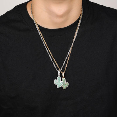 Lab Diamond Cactus Pendant Necklace