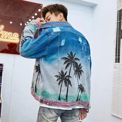 Men Vintage Denim Bomber Streetwear